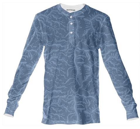 Ferning Blue Henley Shirt