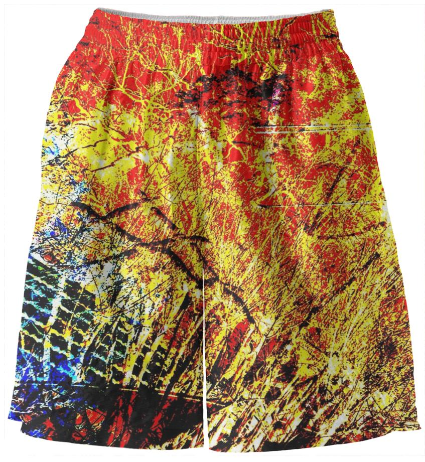 Yellow fire basketball shorts