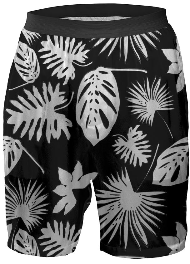 Tropical Leaves White on Black Boxer Shorts
