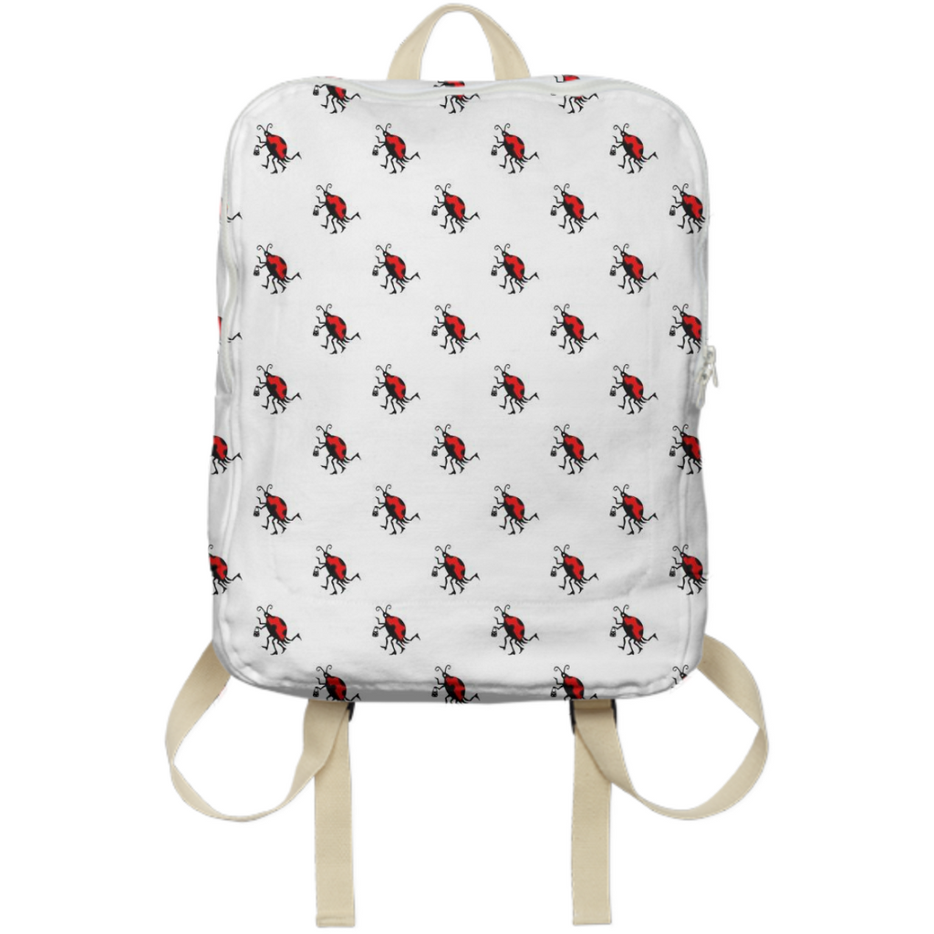 LadyBug on White Backpack