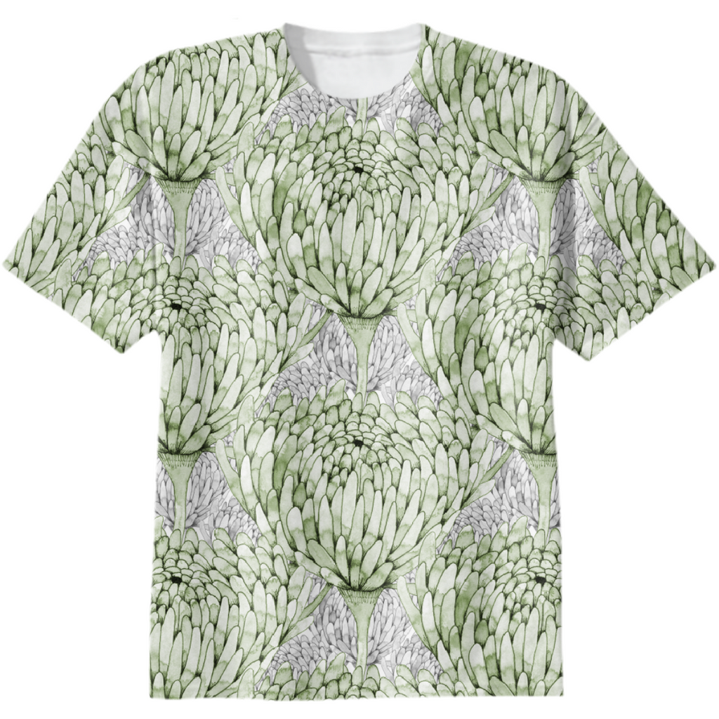 Chrysanthemum Crowd Leaf Green on Grey