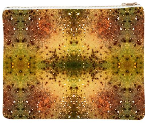 PSYCHEDELIC ABSTRACT ART on Neoprene Clutch Vision of an Alien World with Cracks and Craters