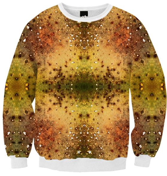 PSYCHEDELIC ABSTRACT ART on Fall Sweatshirt Vision of an Alien World with Cracks and Craters