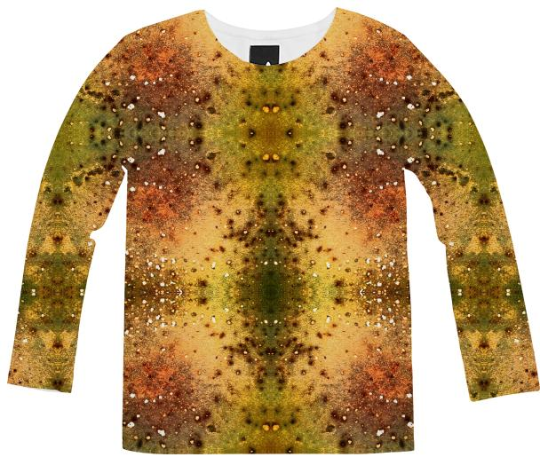 PSYCHEDELIC ABSTRACT ART on Long Sleeve Shirt Vision of an Alien World with Cracks and Craters