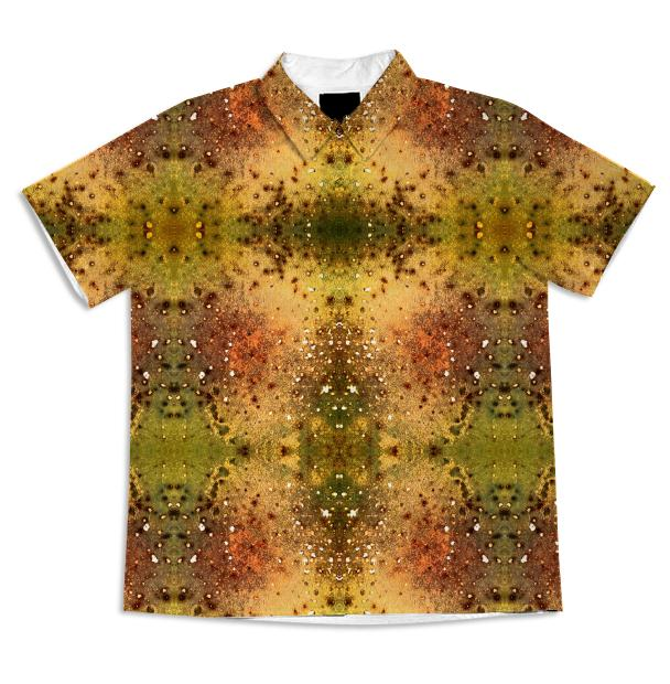 PSYCHEDELIC ABSTRACT ART on Short Sleeve Blouse Vision of an Alien World with Cracks and Craters