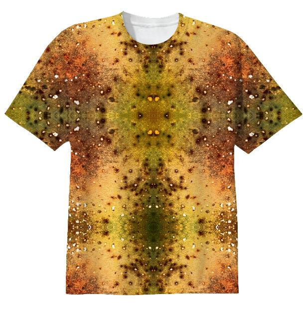 PSYCHEDELIC ABSTRACT ART on T shirt Vision of an Alien World with Cracks and Craters