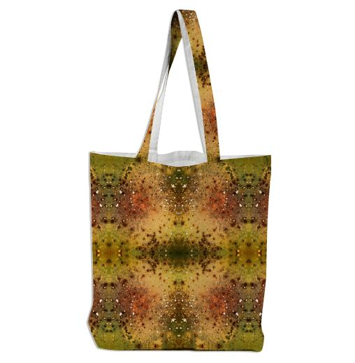 PSYCHEDELIC ABSTRACT ART on Tote Bag Vision of an Alien World with Cracks and Craters