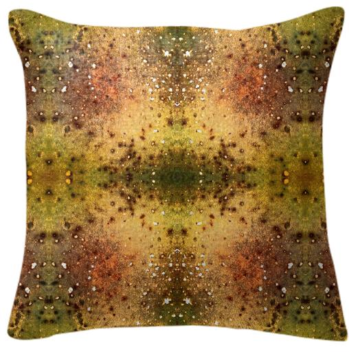 PSYCHEDELIC ABSTRACT ART on Pillow Vision of an Alien World with Cracks and Craters