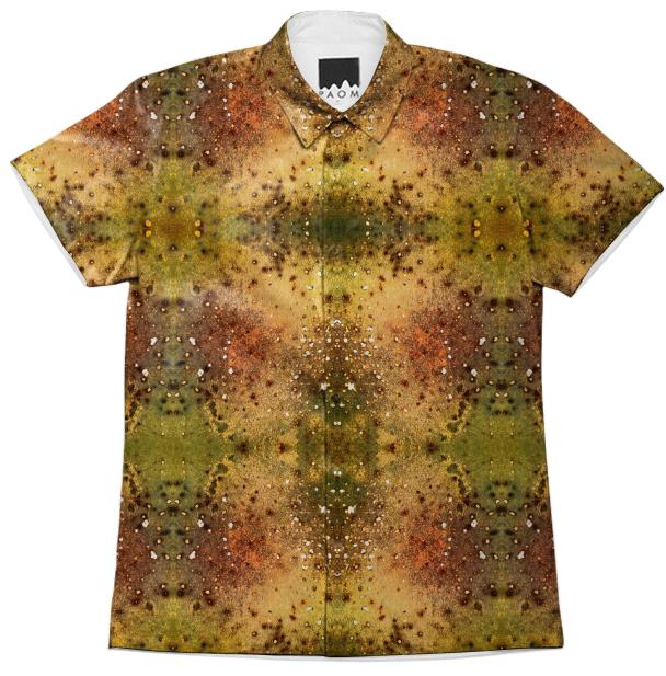 PSYCHEDELIC ABSTRACT ART on Short Sleeve Workshirt Vision of an Alien World with Cracks and Craters