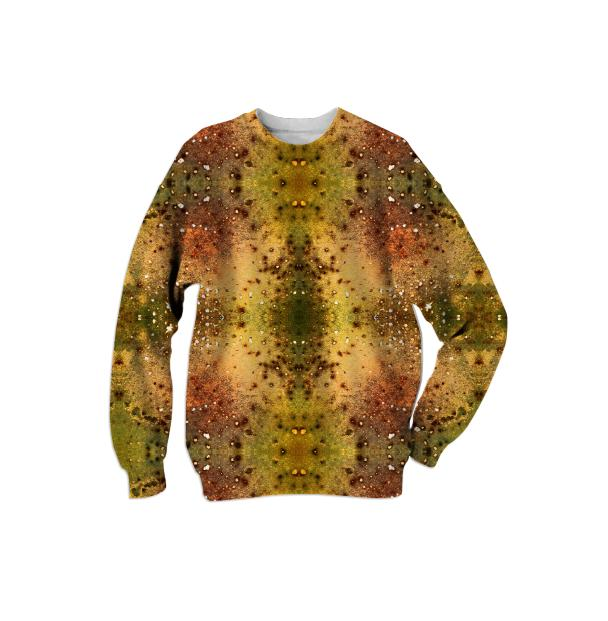 PSYCHEDELIC ABSTRACT ART on Sweatshirt Vision of an Alien World with Cracks and Craters