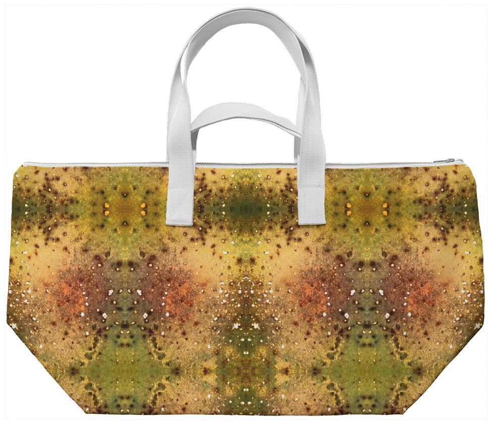 PSYCHEDELIC ABSTRACT ART on weekend bag Vision of an Alien World with Cracks and Craters