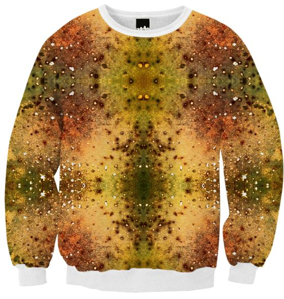 PSYCHEDELIC ABSTRACT ART on Ribbed Sweatshirt Vision of an Alien World with Cracks and Craters