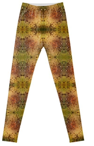 PSYCHEDELIC ABSTRACT ART on Fancy Leggings Vision of an Alien World with Cracks and Craters