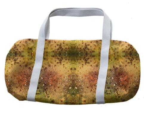 PSYCHEDELIC ABSTRACT ART on Duffle Bag Vision of an Alien World with Cracks and Craters