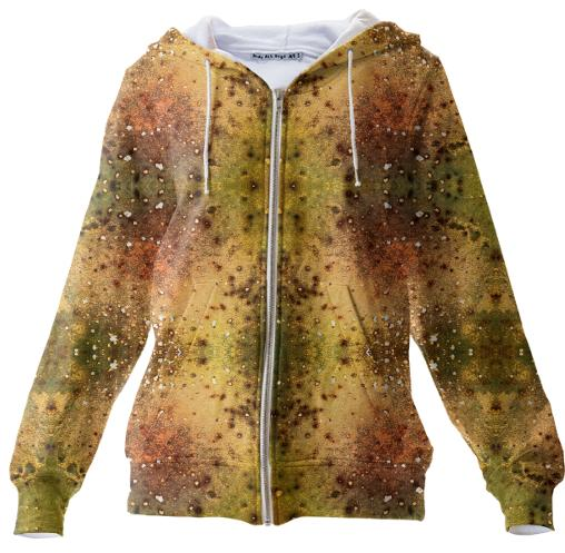 PSYCHEDELIC ABSTRACT ART on Zip Up Hoodie Vision of an Alien World with Cracks and Craters