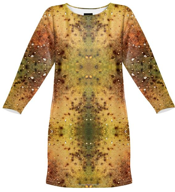 PSYCHEDELIC ABSTRACT ART on Sweatshirt Dress Vision of an Alien World with Cracks and Craters