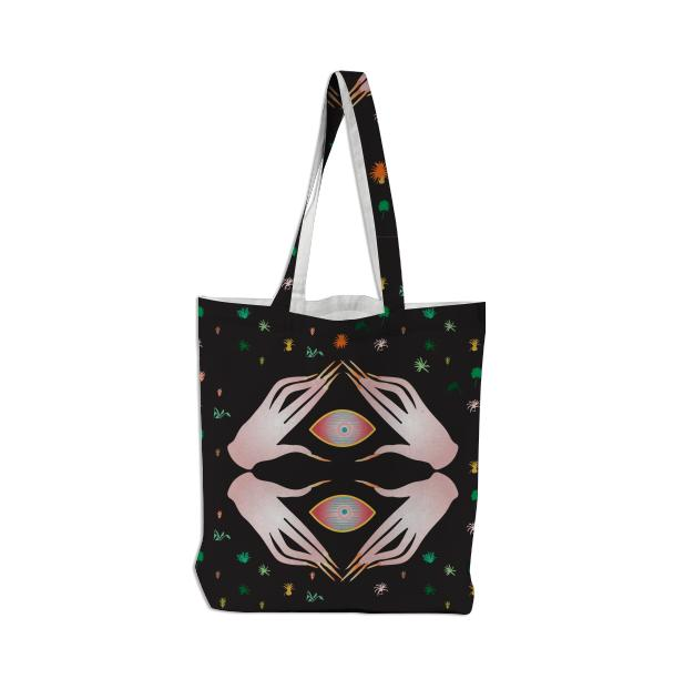 PAOM, Print All Over Me, digital print, design, fashion, style, collaboration, secretary, Tote Bag, Tote-Bag, ToteBag, Seeing, Hands, autumn winter spring summer, unisex, Poly, Bags