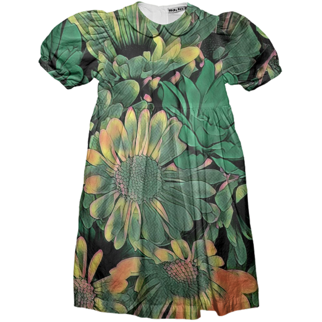 Green Blossoms Girls Party Dress