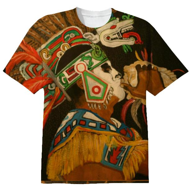T shirt Aztec blowing conch shell