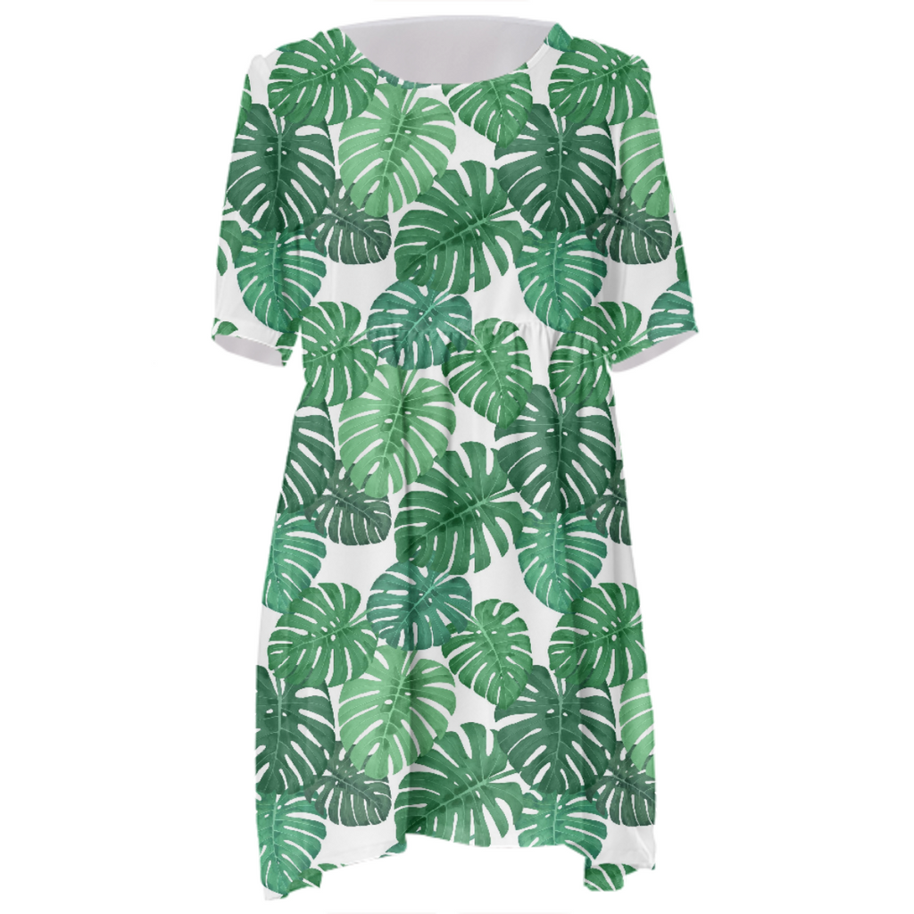 Monstera Jungle Babydoll Dress by Frank-Joseph