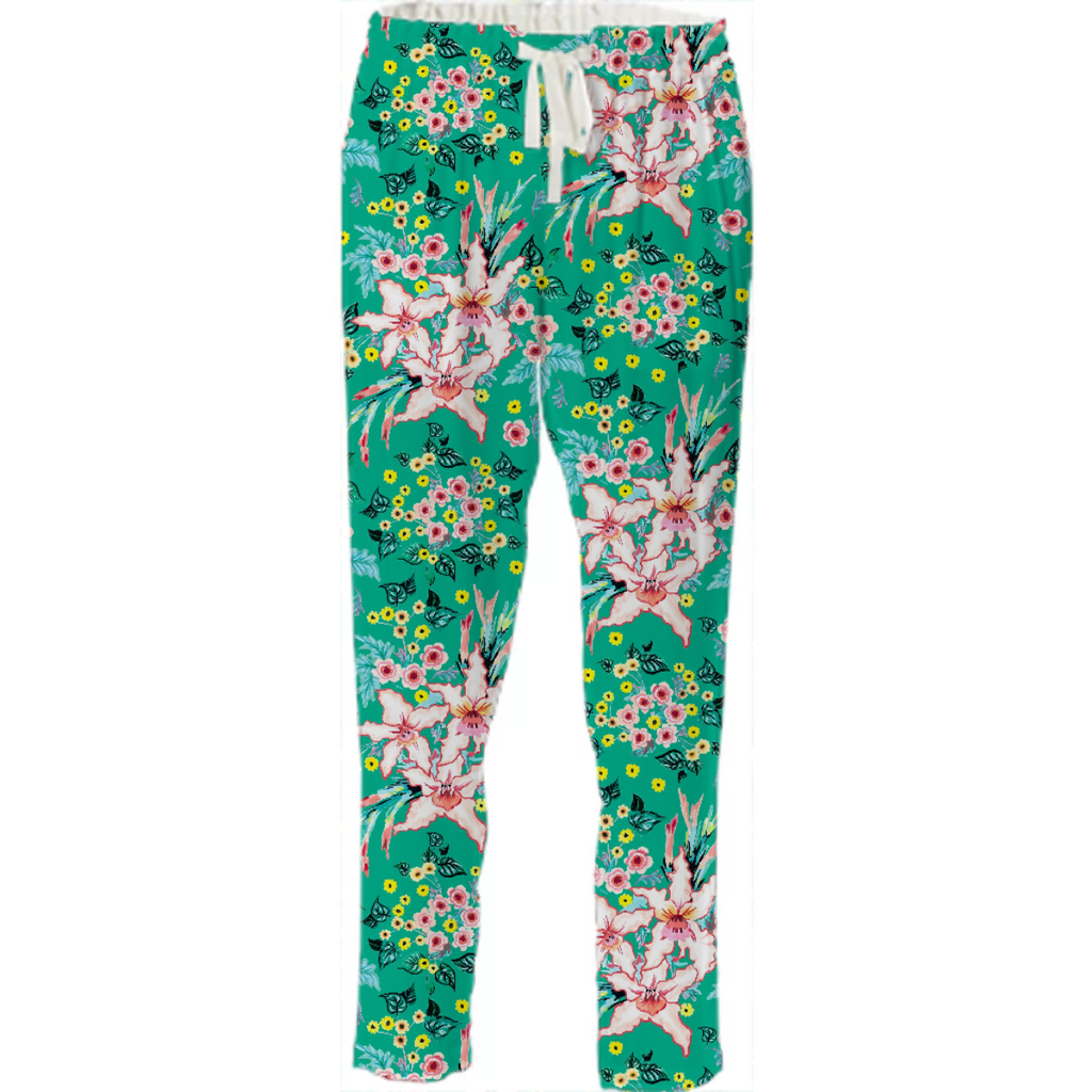 Tropical lily and yellow flowers on teal repeat pattern
