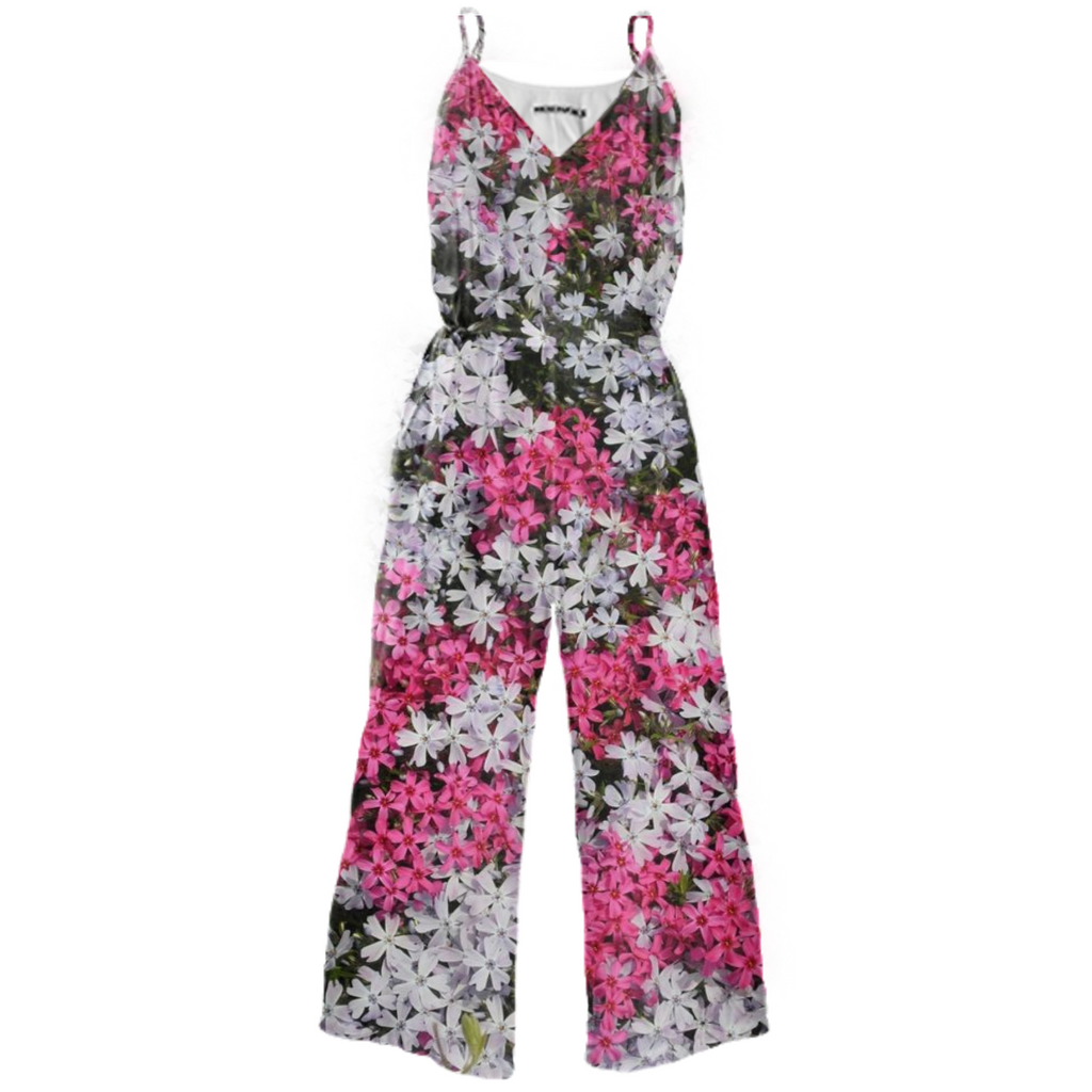 Pink and White Phlox Tie Waist Jumpsuit