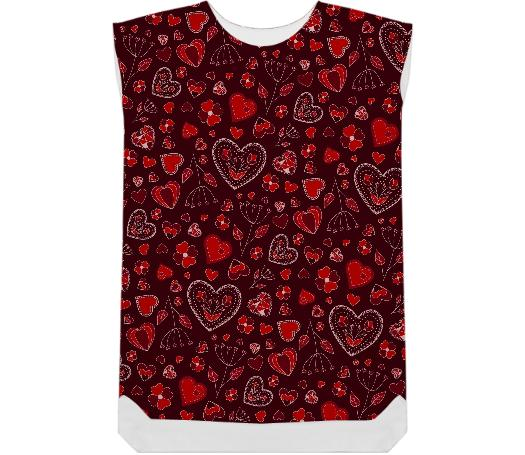 Red hearts and flowers pattern