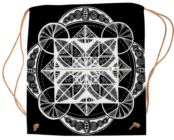 Vesica Mandala Black Sports Sack