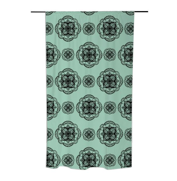 Mint Vesica Mandala Curtain
