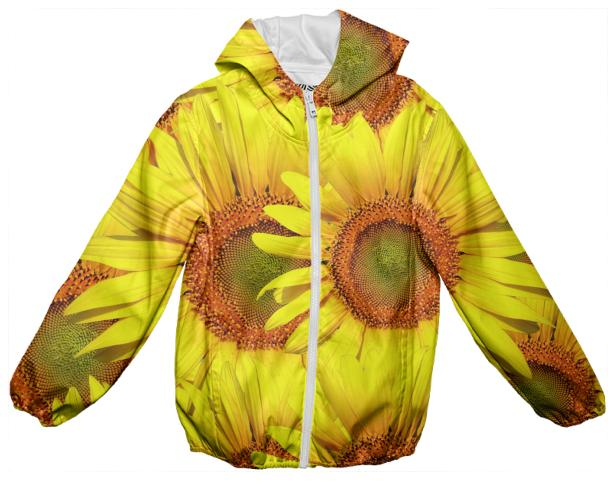 Sunny Day Sunflowers Kids Rain Jacket
