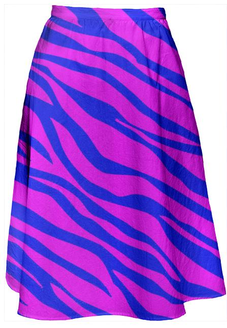 Hot Pink And Cobalt Blue Zebra Striped Midi Skirt