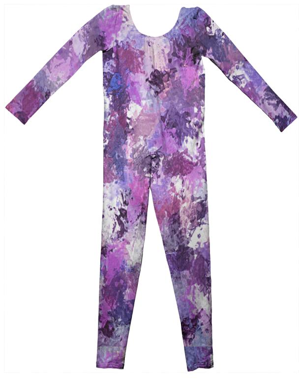 Purple Paint Splatter Kids Unitard