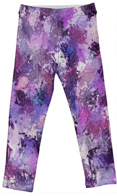 Purple Paint Splatter Kids Leggings