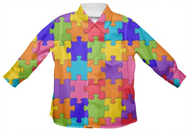 Multicolored Jigsaw Puzzle Kids Button Down