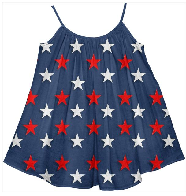 Navy Red White Stars Kids Tent Dress