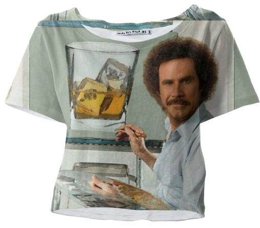 Scotch on the Rocks Painting with Bob Will Farrell Ross Crop Tee