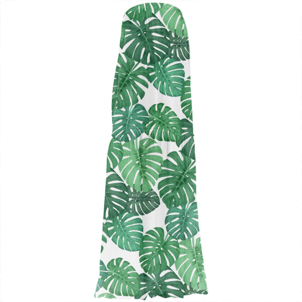 Monstera Jungle Strapless Silk Dress by Frank-Joseph