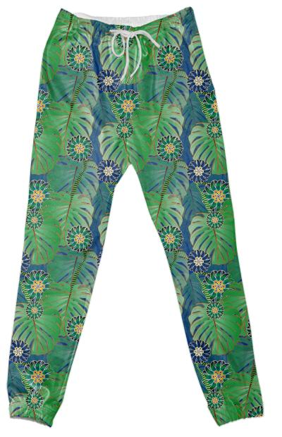 Tropical Plant Cotton Pants
