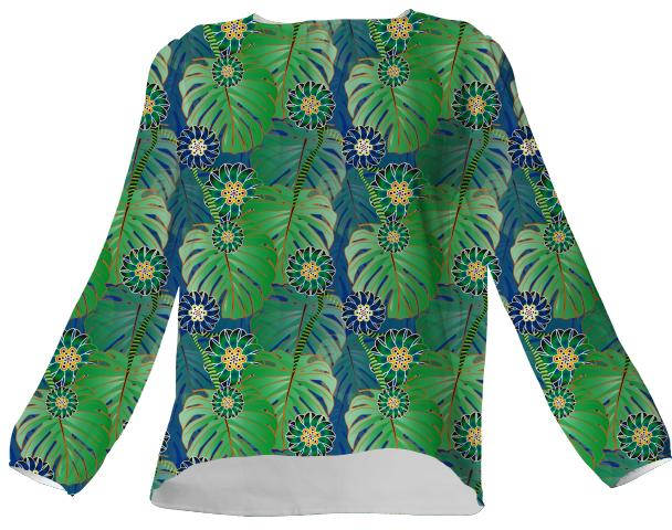 Tropical Plant VP Silk Top