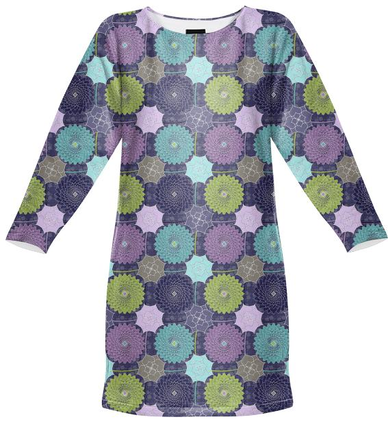 Pond Flowers Sweatshirt Dress