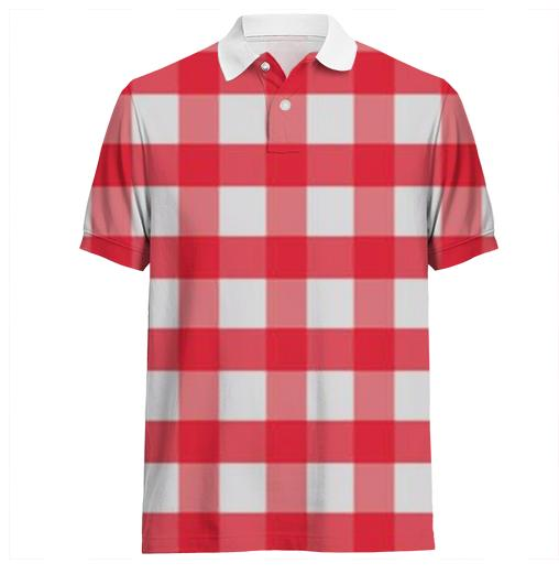 BIG RED PLAID POLO