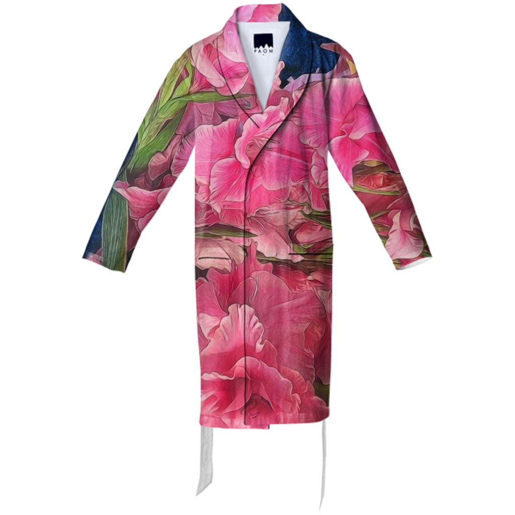 Pink Gladiolas Cotton Robe