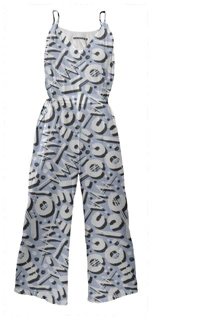 PAOM, Print All Over Me, digital print, design, fashion, style, collaboration, lottiegoodman, Tie Waist Jumpsuit, Tie-Waist-Jumpsuit, TieWaistJumpsuit, Scribble, autumn winter spring summer, unisex, Poly, One Piece