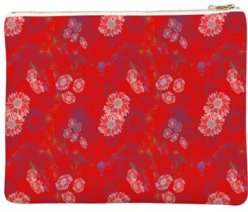 Red Floral Neoprene Clutch
