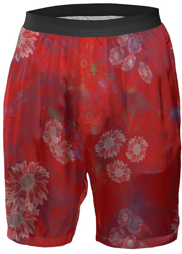 Red Floral Boxer Shorts