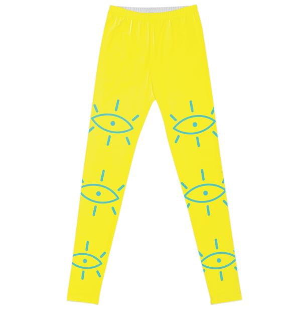 Summer Rising All Seeing Yellow Blue Leggings