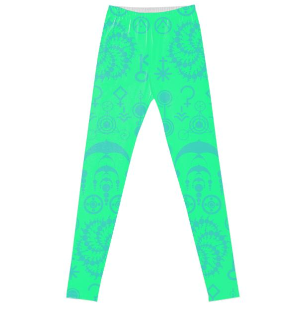 Dusk Haze Crop Circle Green Mint Leggings