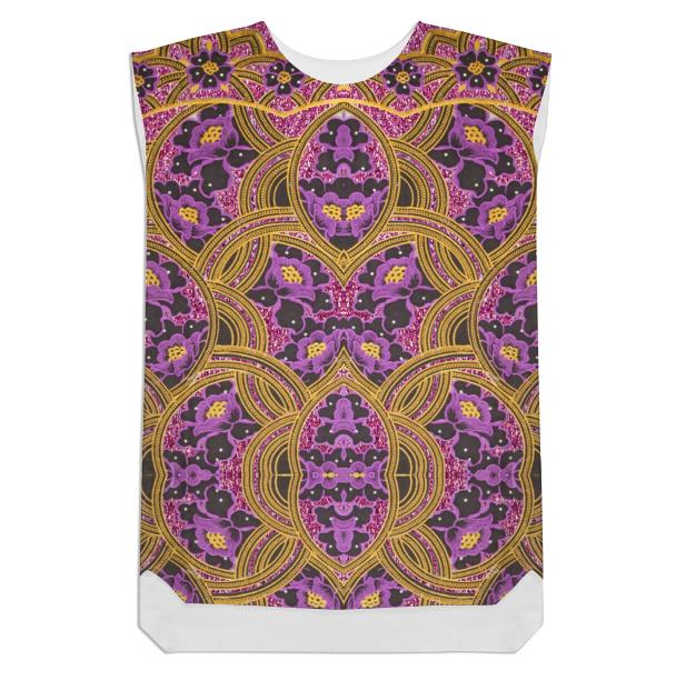 Purple and Gold floral African print shift dress