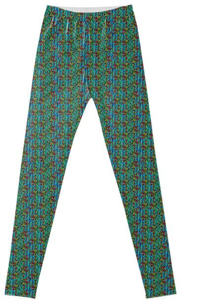 Gree Blue Pattern Fancy Leggings