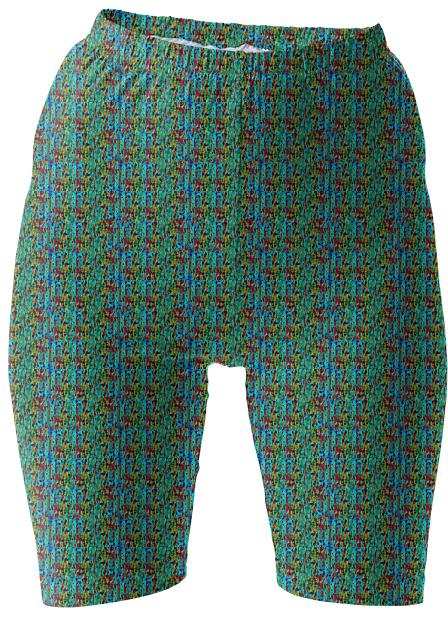 Green Blue Pattern Bike Shorts